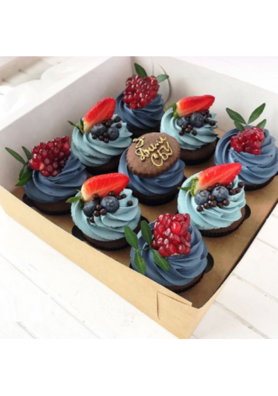Blue Cream Cupcakes with Fresh Fruits