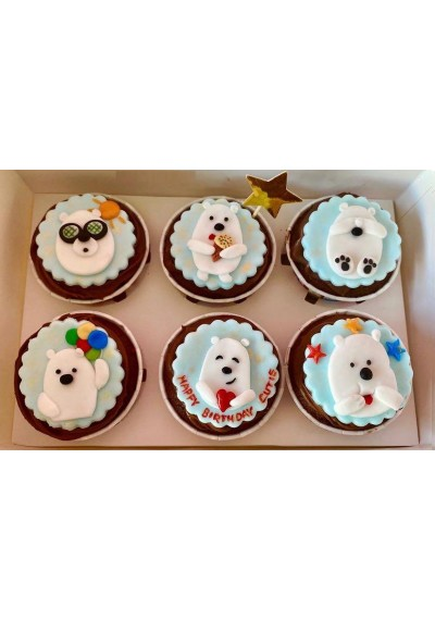 Happy Birthday Cute Bear Cupcakes