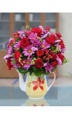 Pink and Red Floral Mug Arrangement