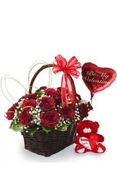 Valentine Surprise Collection : Teddy Bear, Basket With Red Roses