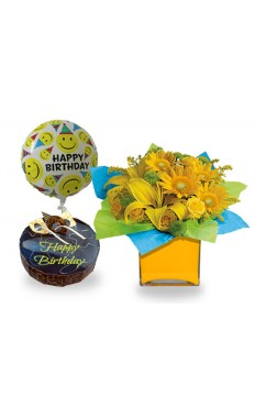 Sunny Birthday Bouquet, Chocolate Mousse Cake And Balloon.