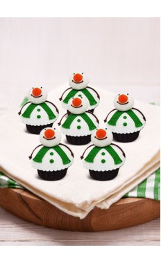 Snowman With Green Strap Cupcakes