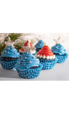 Special Christmas Blue Star Cupcakes
