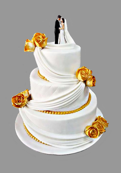 Golden Flower Custom Wedding Cake