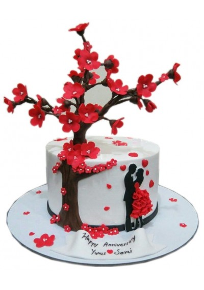 Customize Anniversary Flower Cake