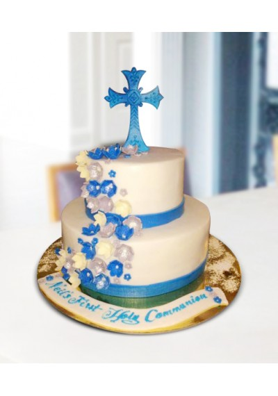 White and Blue Christening Cake