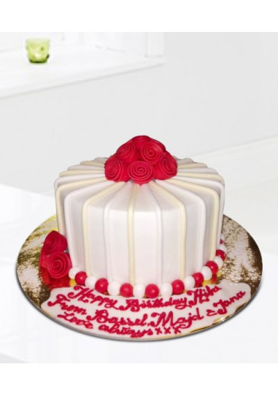 White N Red Birthday Cake