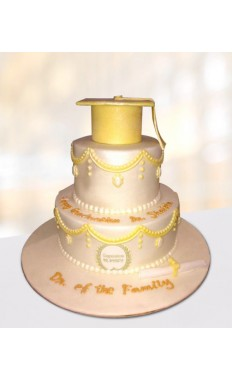 White and Gold Graduation Cake