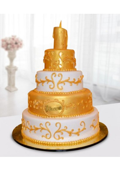 White and Golden Wedding Cake