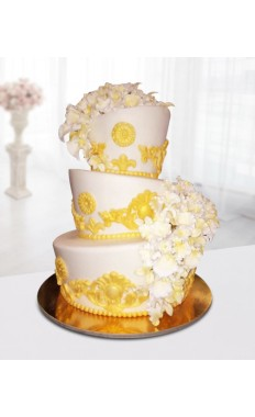 3 Tier Floral Wedding Cake