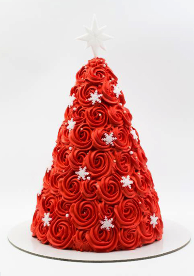 Red Christmas Tree Cake