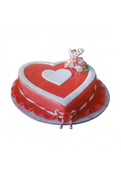 Heart With Striped Ribbon Valentine Cake