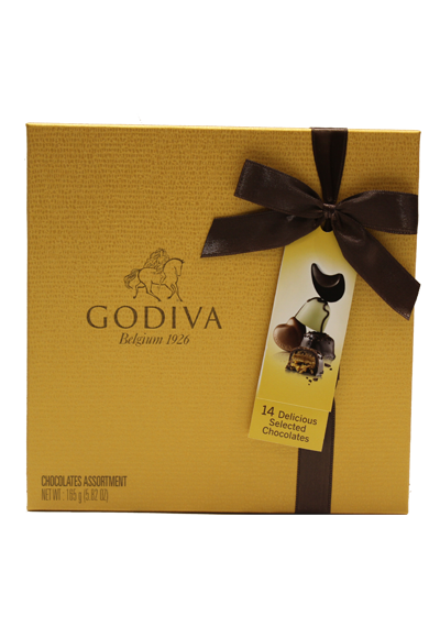 Assorted Chocolate Gold Rigid Box 14 Pc,