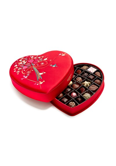 Valentine's Day Fabric Heart Godiva Chocolate Gift Box, 33 pc.