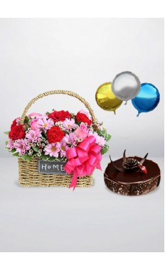 Amour Basket with chocolate Fudge Cake & Sparkling Balloons pack