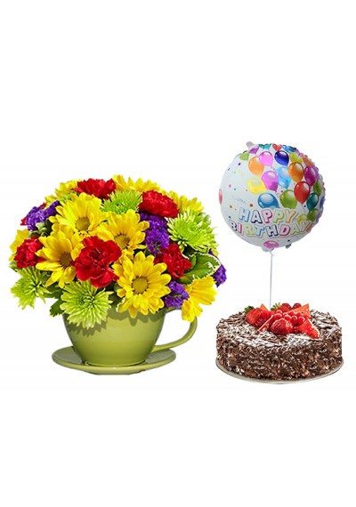 It's Your Day Birthday Surprise: Flowers, Cake and Balloons