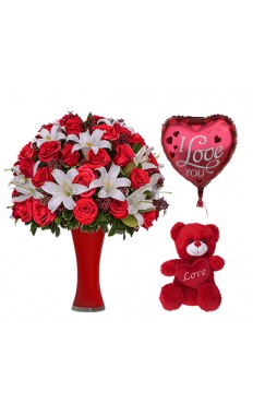 LHK Bouquet With Teddy Bear