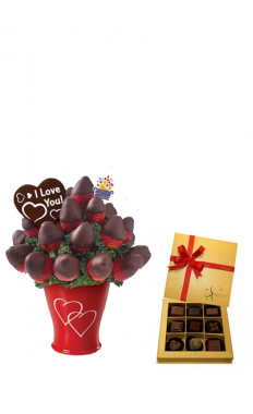 Sweetheart Bouquet With vintage Chocolate Gold box