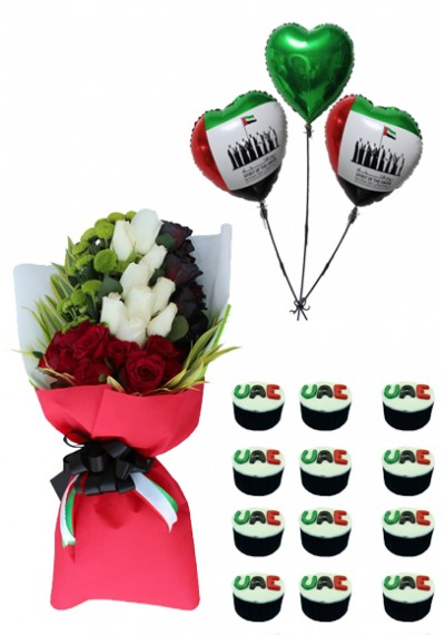 UAE National Day Bouquet with  National Day Cupcakes And Balloons