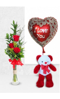 3 Red Rose with Be My love Teddy And Balloon