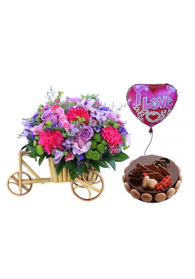 Cart of Loving Flowers With Mikado Cake combo