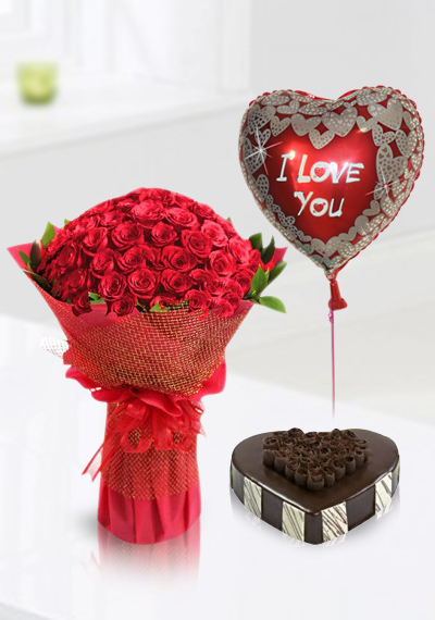 Buy 60 Red Roses Birthday Surprise Flowers Cake And Balloon In Dubai UAE