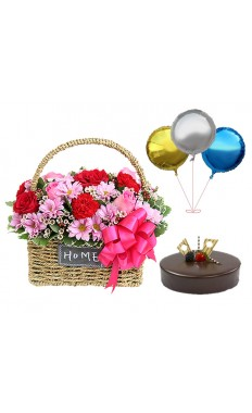 Amour Basket with Chocolate Truffle Cake & Sparkling Balloons pack