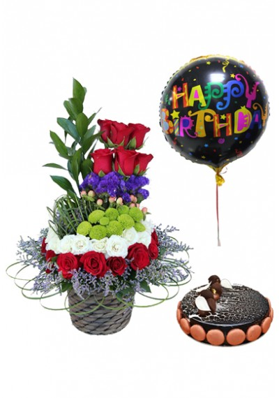Caring and Love Basket with Mikado cake & Happy Birthday Balloon