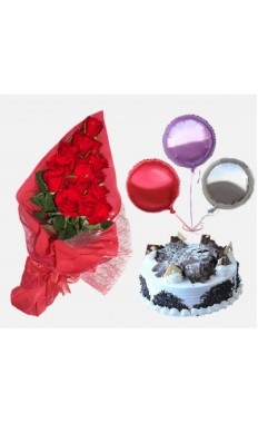 Bunch of 15 Red Roses and Black Forest Cake