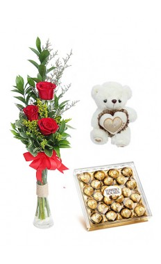 3 Red Rose with Ferrero Rocher And Teddy