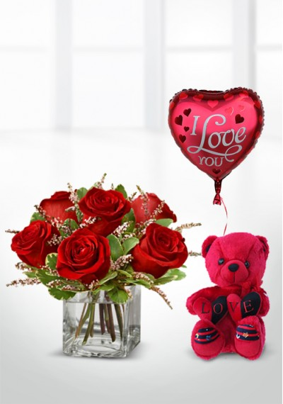 Rose Romance With Love Red Teddy-Singing And I Love You Balloon
