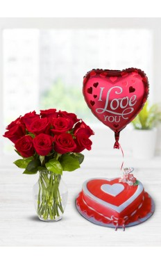 Valentine Red Rose Bouquet -Heart With Striped Ribbon Valentine Cake And Balloon