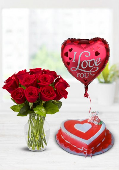 Buy Valentine Red Rose Bouquet Heart With Striped Ribbon Valentine