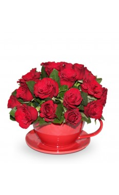 Chic Red Rose Teacup