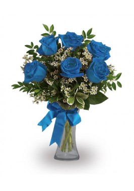 Six Royal Blue Rose