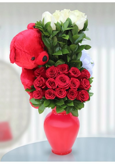 Red & White Flowers With Teddy Bear