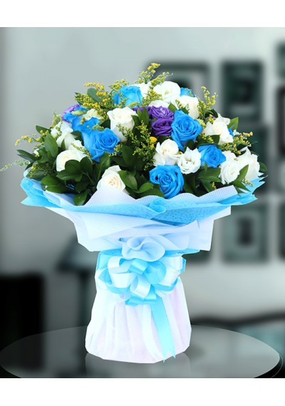 Blue Beauty Hand Bouquet