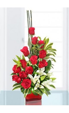 Red Rose & White Lily Bouquet