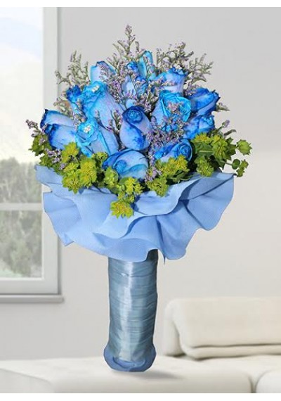 Royal Blue Rose & Diamonds Hand-Tied