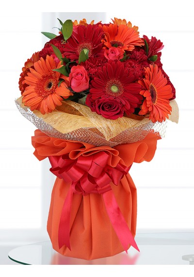 Red & Orange Hand-Tied