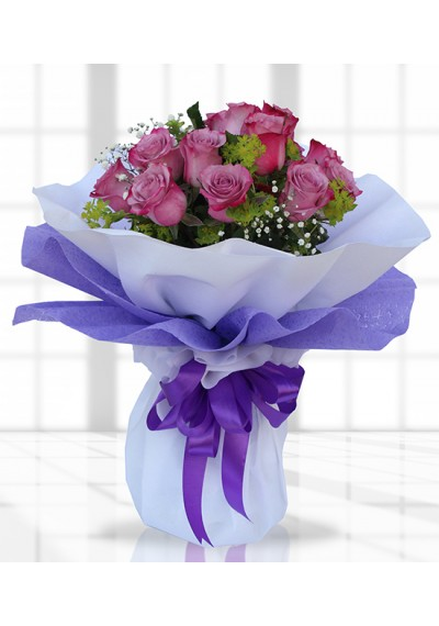 Cheerful Lavender Rose Hand-tied