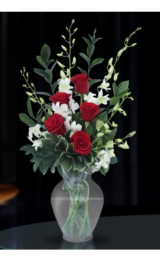 Red Roses & White Orchids