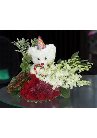 Plate Flowers w Teddy Bear