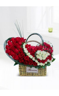 Basket Of Red Rose With Heart