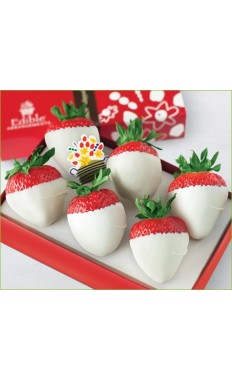 6 Dipped Strawberries Covered White