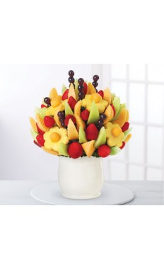 Delicious Fruit Design in White Ceramic Container