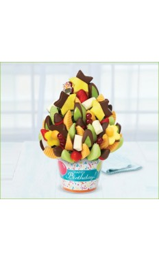 Happy Birthday Delicious Celebration with dipped Fruit Delight