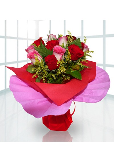 Red and Pink Rose Hand-tied