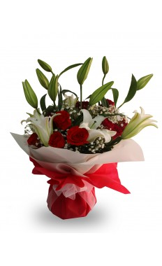 Red Rose and White Lily Hand-tied