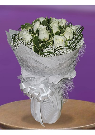 White Roses Hand Tied
